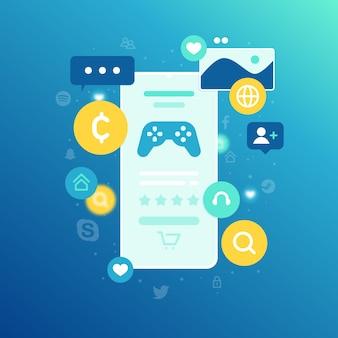 Telefone móvel com o conceito de compras online