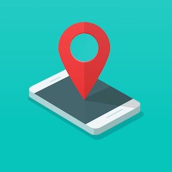 Telefone móvel com ponteiro de pin mapa