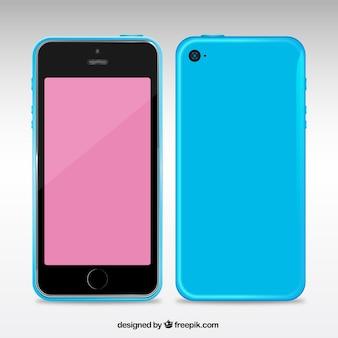 Telefone móvel com uma caixa azul