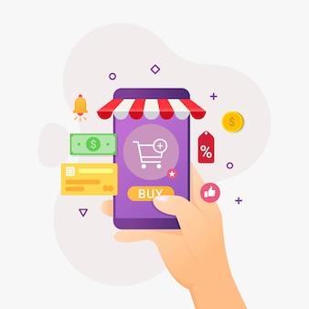 Telefone móvel de aplicativo de compras online