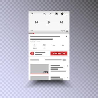 Telefone móvel de interface de aplicativo de canal de vídeo. mídia social . se inscrever .