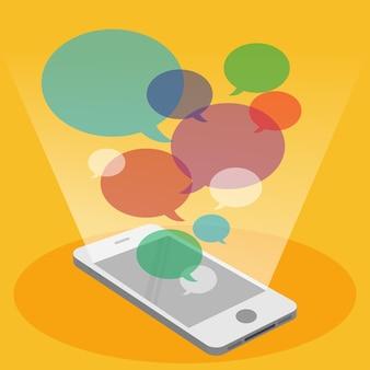 Telefone móvel e discurso bolha colorida