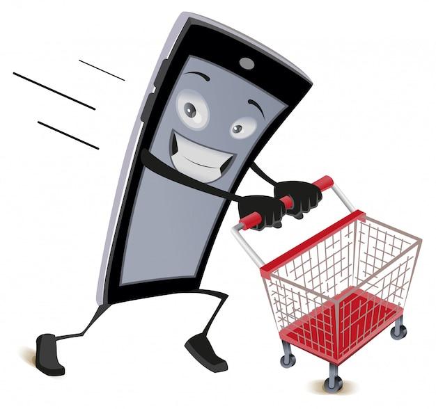 Telefone móvel é executado com carrinho de compras vazio