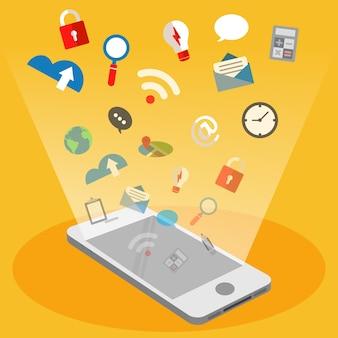 Telefone móvel, e, voando, tecnologia, ícone