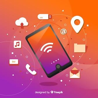 Telefone móvel isométrico com aplicativos e não