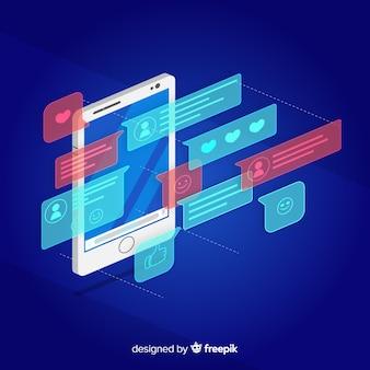 Telefone móvel isométrico com conceito de bate-papo