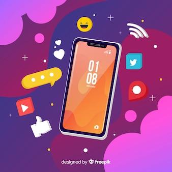 Telefone móvel isométrico com notificações