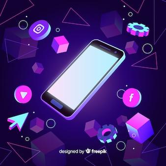 Telefone móvel isométrico com tema escuro