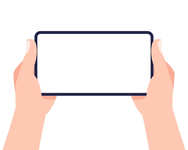 Telefone móvel nas mãos. duas mãos segurando um smartphone e uma tela tocante. .