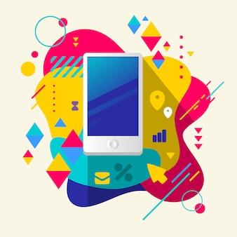Telefone móvel no fundo manchado colorido abstrato com elementos diferentes.