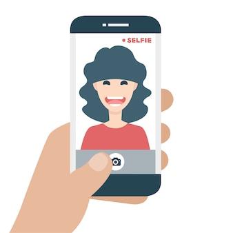 Telefone móvel que leva um selfie