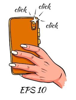 Telefone na mão. a foto. clique. ilustração vetorial isolado no fundo branco.