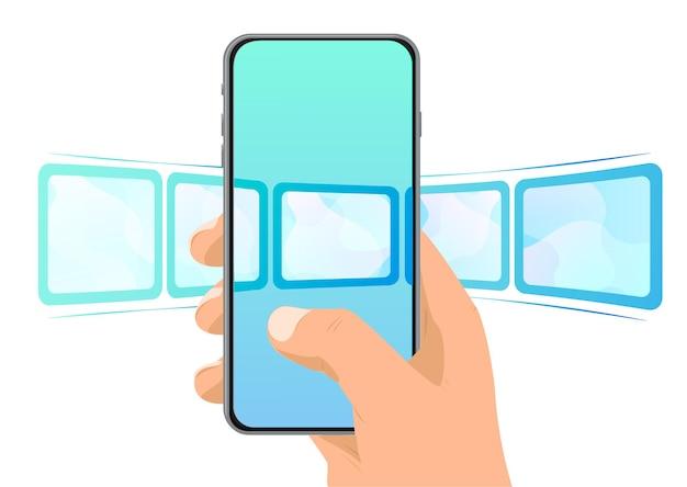 Telefone na mão com a imagem da foto abstrata role e selecione uma foto no seu telefone fotos ao vivo