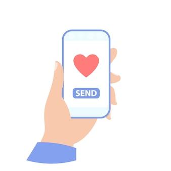 Telefone na sua mão. enviar amor