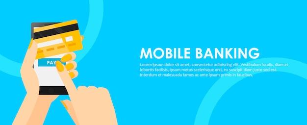 Telefone nas mãos com um cartão de crédito. pagamento on-line do celular.