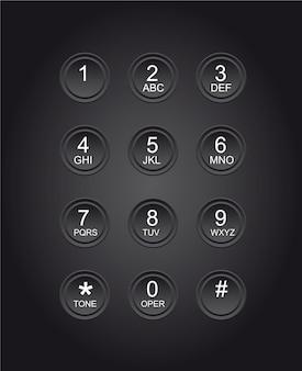 Telefone números fundo preto