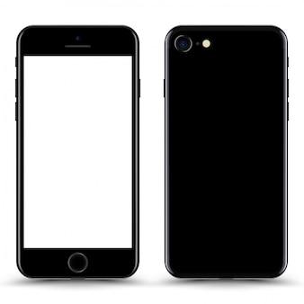 Telefone preto com tela em branco isolada.