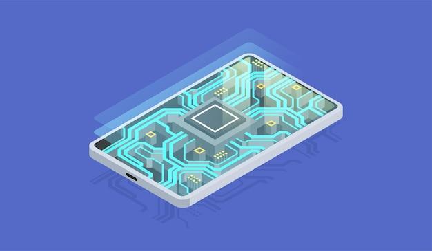 Telefone quântico, processamento de big data, conceito de banco de dados. chip digital, hardware moderno de smartphone, ilustração isométrica.