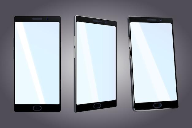 Telefone realista em diferentes pontos de vista