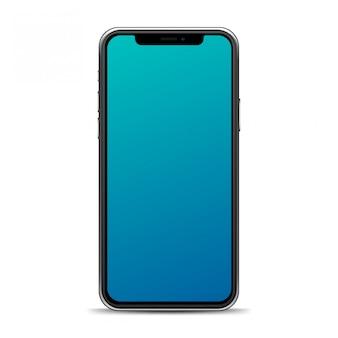 Telefone realista isolado em um fundo branco. modelo de smartphone para sua maquete