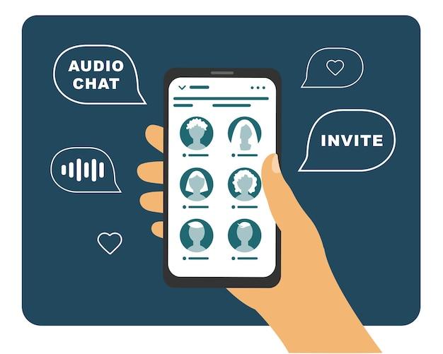 Telefone rede social conversando com amigos. bate-papo com áudio da club house.