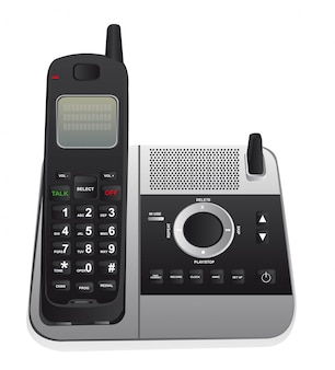 Telefone sem fio isolado sobre o vetor de fundo branco