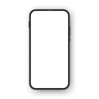 Telefone sem moldura com bordas finas e tela vazia em branco.