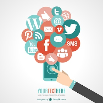 Telefone touchscreen vetor de mídia social