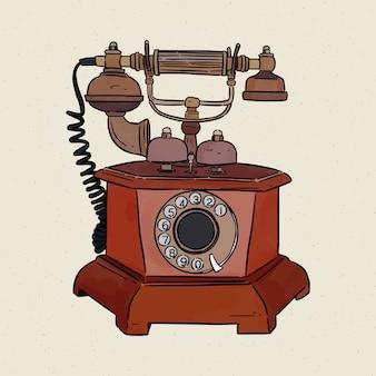 Telefone vintage, mão desenhar croqui.
