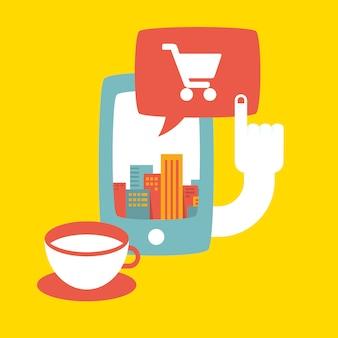 Telefone, xícara de café e bolha do discurso