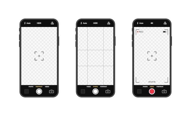 Telefones celulares com interface de câmera. aplicativo de aplicativo móvel. tela de foto e vídeo.