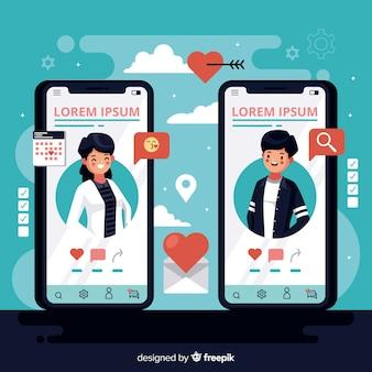 Telefones celulares design plano com aplicativo de namoro