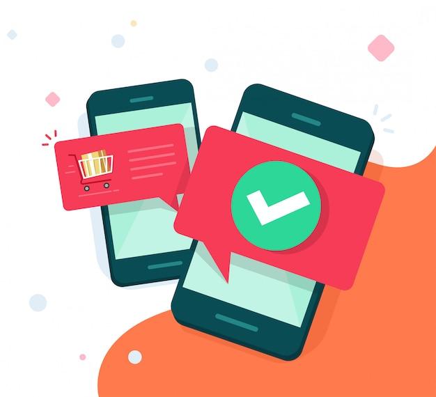 Telefones celulares ou smartphones com bolhas de notificação push ilustração plana dos desenhos animados
