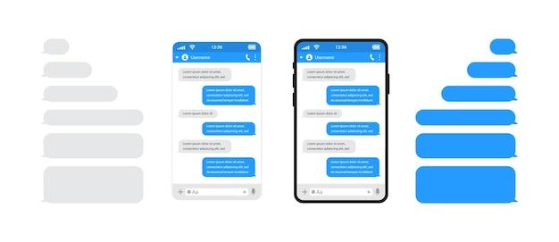 Telefones inteligentes conversando com bolhas de modelo de sms.