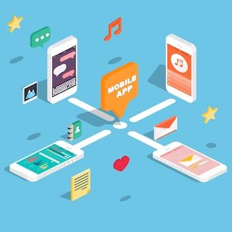 Telefones isométricos com aplicativos