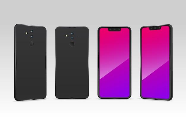 Telefones realistas em diferentes pontos de vista