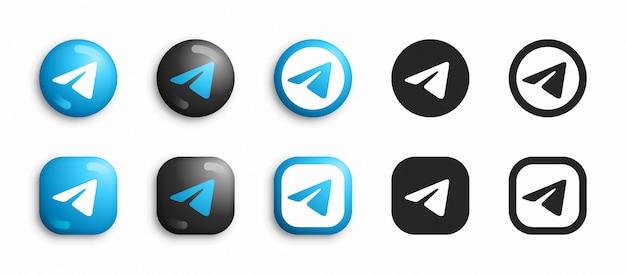 Telegrama moderno 3d e ícones lisos defina vetor