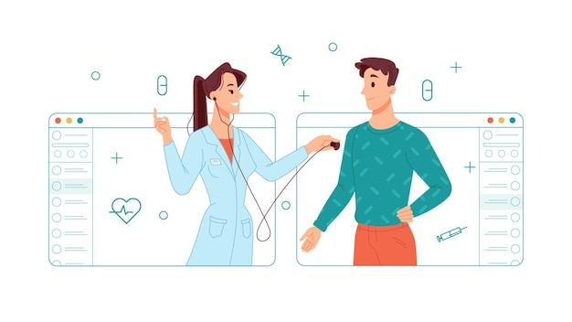 Telemedicina e consulta on-line na clínica do médico do hospital check-up do paciente doente doc trabalhador