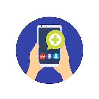 Telemedicina, ícone de consulta médica online com aplicativo de telefone