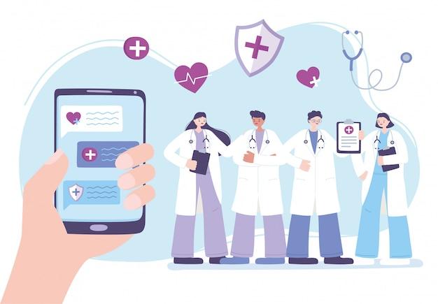 Telemedicina, mão com consulta de caráter profissional médico da equipe do smartphone