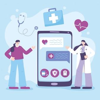 Telemedicina, médico especialista em smartphone, consulta, discussão on-line com o paciente
