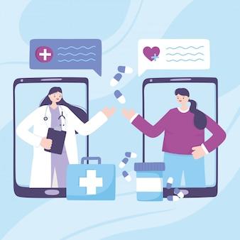 Telemedicina, médico smartphone e paciente falando prescrição de medicamentos