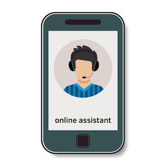 Telemóvel com assistente online que aconselha. ilustração vetorial