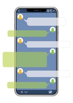 Telemóvel com relação de sns isolado no fundo branco, ilustração do vetor.