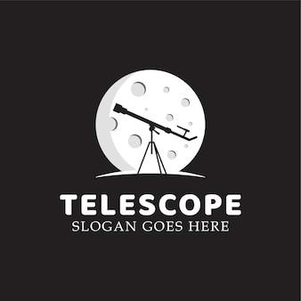 Telescópio de astronomia com modelo de vetor de ilustração de logotipo planeta ou lua