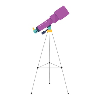 Telescópio desenhado à mão ilustração vetorial para crianças com conceito de espaço