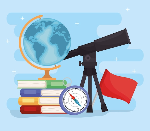 Telescópio geográfico e suprimentos