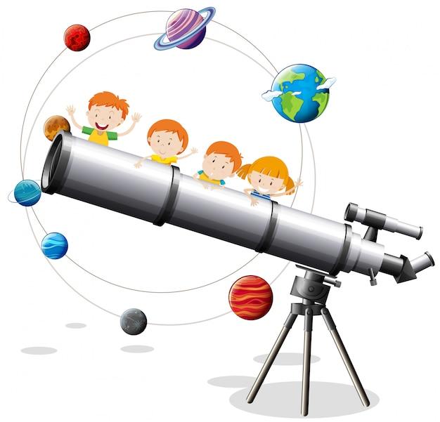 Telescópio infantil e gigante