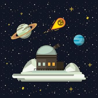Telescópio muito grande apontando para o espaço