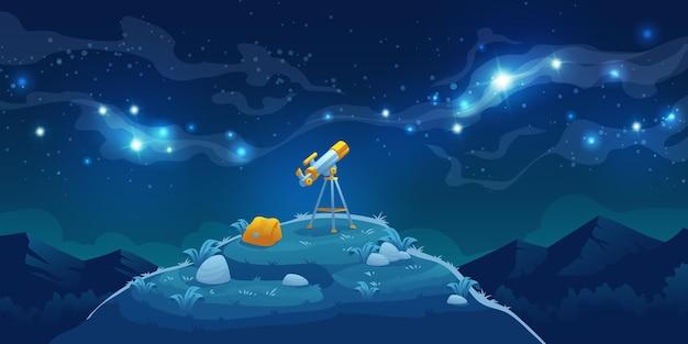 Telescópio para descoberta científica, observando estrelas e planetas no espaço sideral